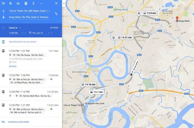バスの経路検索結果