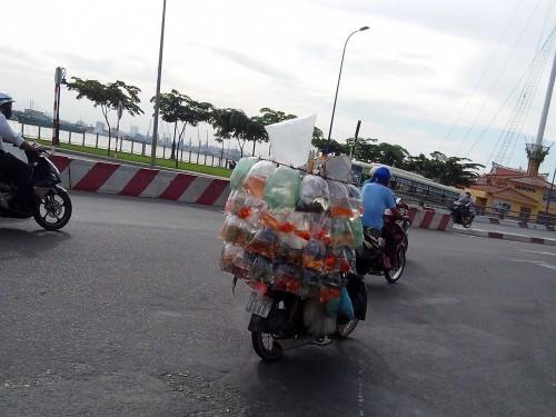 バイクで運ばれる大量の金魚