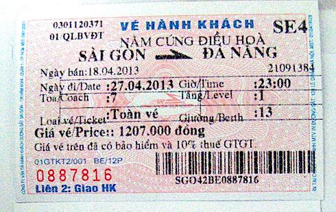 南北統一鉄道チケット