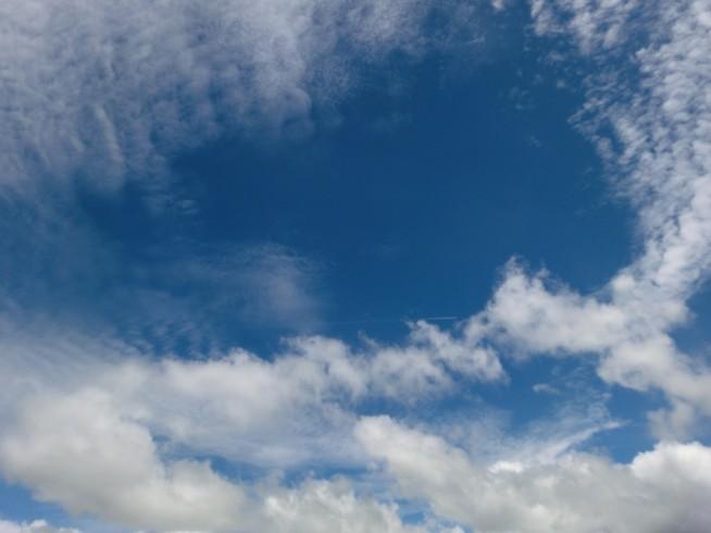 空には飛行機雲