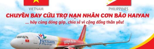 Vietjet Airではフィリピンへの救援物資を募集しています