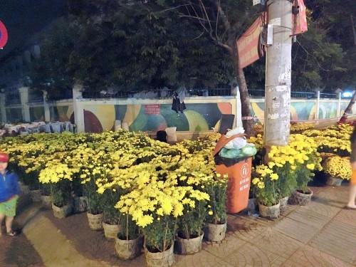 ホーチミンの路上で売られている花