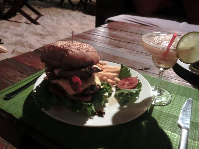 夜のハンバーガー