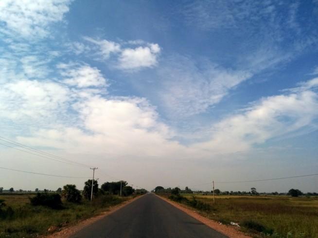 田園の中を通る一本道