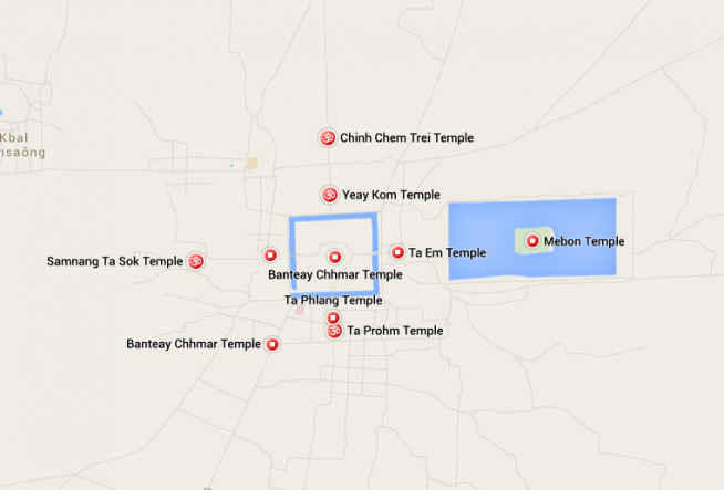 バンテアイチュマール遺跡地図