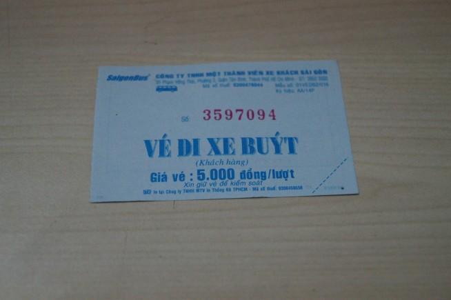 1回5000ドンと書かれた乗車券