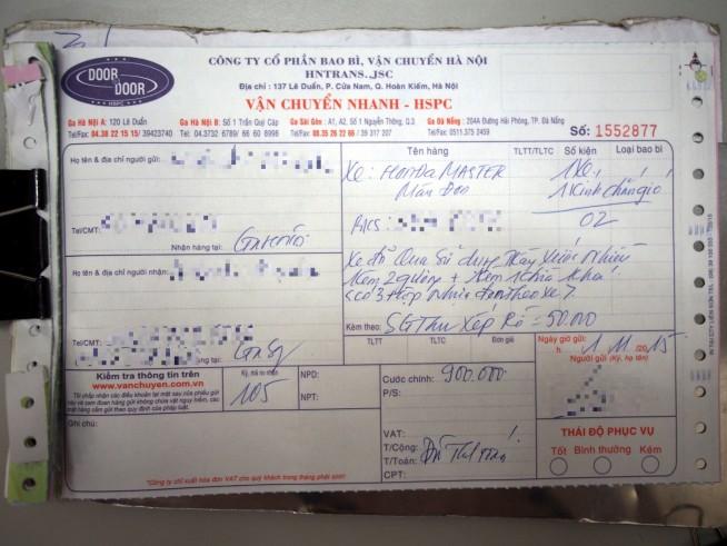 ハノイからホーチミンへ送った際の荷受票