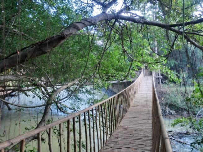 写真撮影で賑わう吊り橋