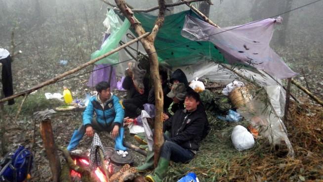 モン族の野営の仕方 雨合羽を屋根にし、床に笹を敷いただけ