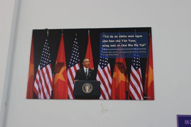 オバマ大統領の写真が壁面に。