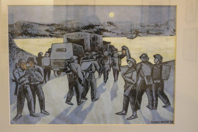 戦闘時の兵士の様子を描いた絵画