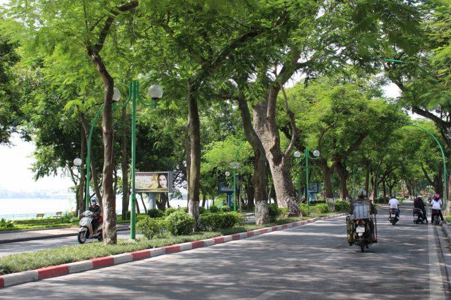 湖の中を走るThanh Nien通り