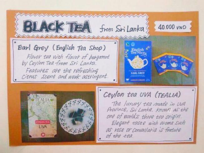アールグレイ(English Tea Shop / Earl Grey)、ウバ茶(TEALIA / Ceylon Tea UVA)、各4万VND