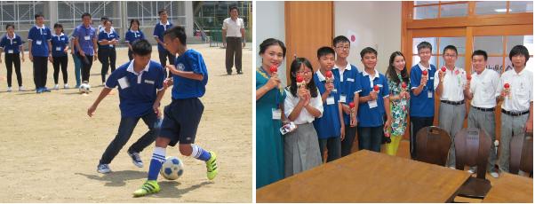 スポーツや日本の伝統の遊び「けん玉」を通じて交流するベトナムと日本の子どもたち
