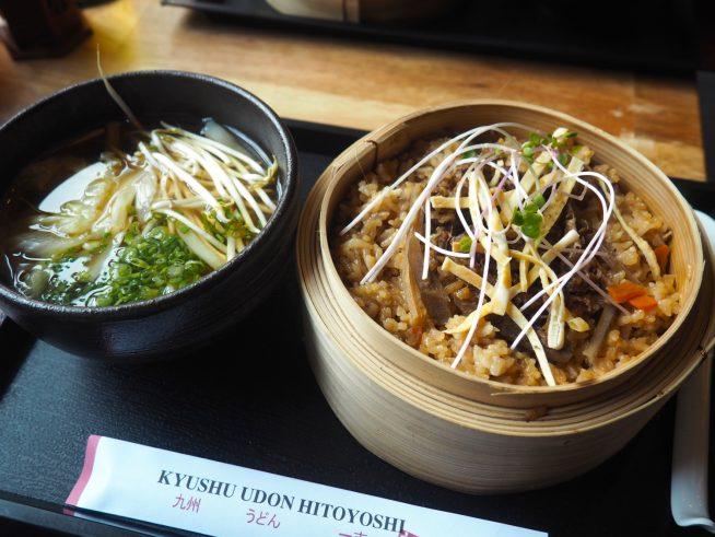 ランチセット(かけうどんと牛肉せいろご飯)