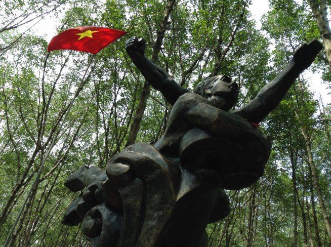 ベトナムの国旗を掲げたオブジェ