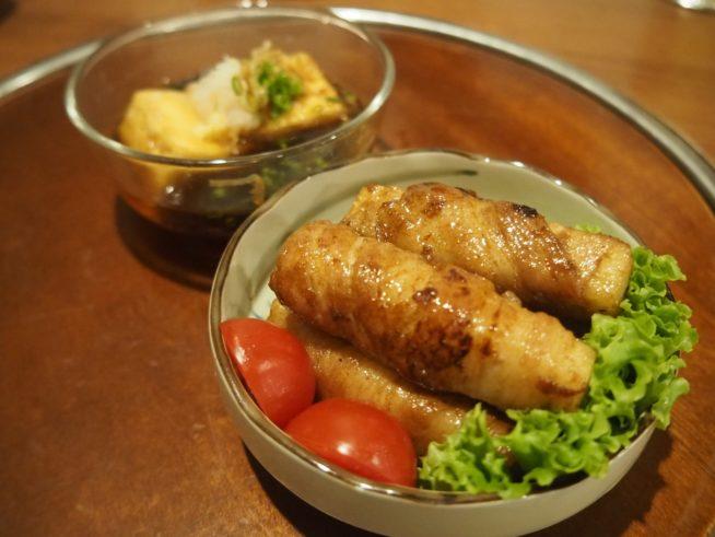 厚揚げ豆腐と山芋の肉巻き
