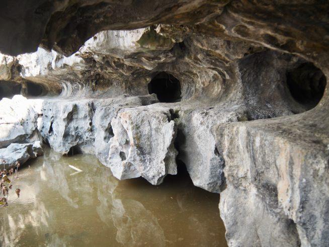 洞窟内には水が溜まっている