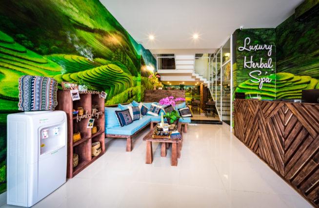 お店に入ると壁全体に描かれた緑が目に入ります。